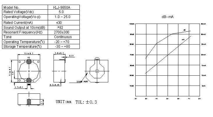 KLJ 9650A Active SMD Magnetic Buzzer drawing