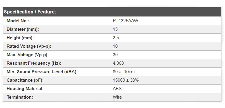 PT1325AAW specs