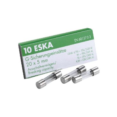 ESKA 522.520 2A Slow Blow Glass Fuse 5x20mm Pack 10
