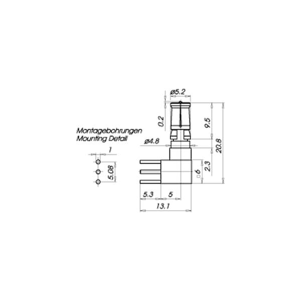 PCB mount angle plug drawing